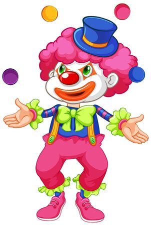 Funny clown juggling ball on white background illustration