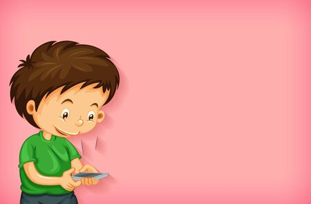 Plain background with happy boy using mobile phone illustration