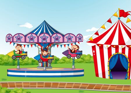Scene with circus ride in the park illustration