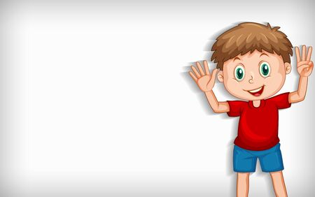 Plain background with boy waving hands illustration