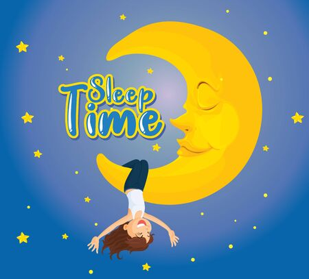 Poster design for word sleep time with girl on the moon illustration