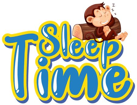 Sign template with word sleep time and monkey sleeping on log illustration