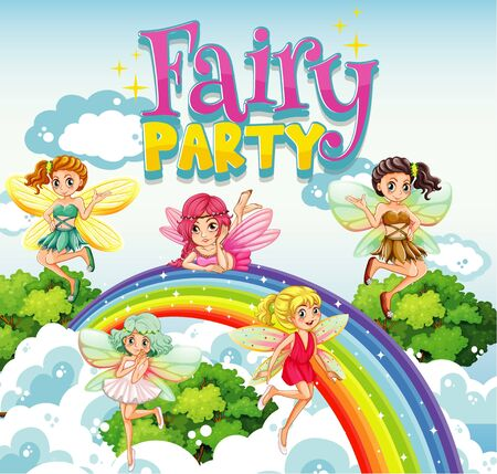 Font design for word fairy party with fairies flying over the rainbow illustration