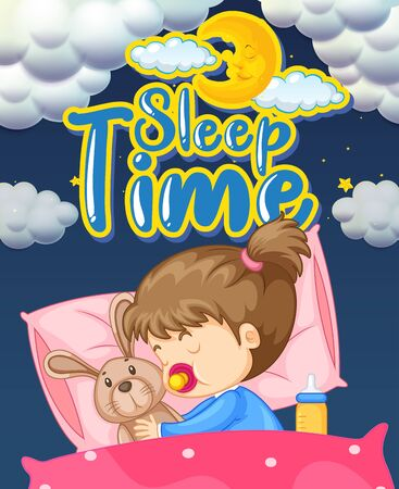 Font design for word sleep time with kid sleeping in bed illustration