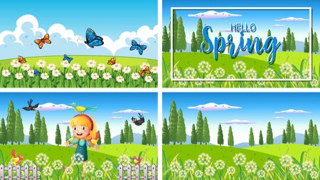 Four background scenes with children and animals in the park illustration