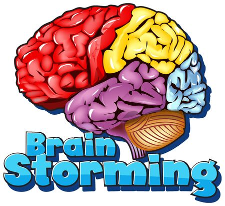 Font design for word brainstorming with colorful brain illustration