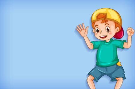 Plain background with happy boy in green shirt illustration  イラスト・ベクター素材