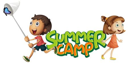 Font design for word summer camp with kids catching butterfly illustration