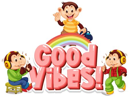 Font design for word good vibes with cute monkey illustration