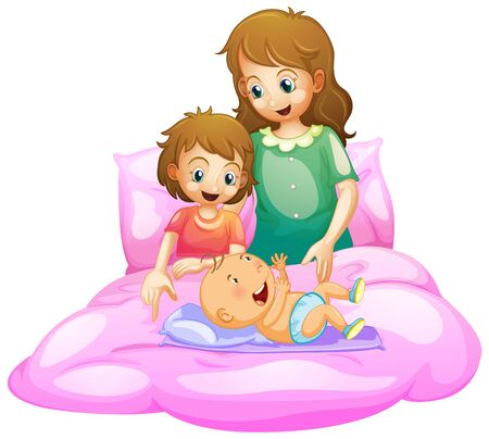Scene with mother and kids in bed illustration  イラスト・ベクター素材