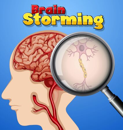 Font design for word brain storming with human brain in background illustration Vettoriali