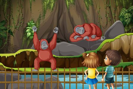 Scene with kids and chimpanzees in the zoo illustration  イラスト・ベクター素材
