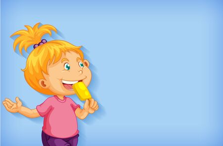 Background template design with girl eating popsicle illustration