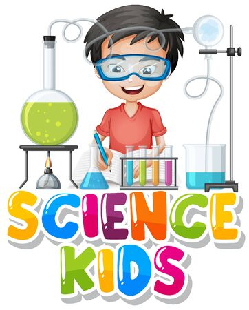 Font design for word science kids with boy in science lab illustration  イラスト・ベクター素材