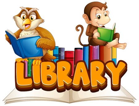 Font design for word library with animals reading book illustration