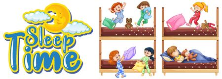 Sleep time sign with many kids in bed illustration  イラスト・ベクター素材