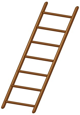 Wooden ladder on white background illustration