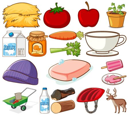 Large set of different food and other items on white background illustration  イラスト・ベクター素材