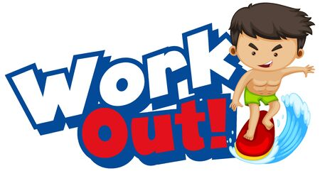 Font design for word work out with kid doing exercise illustration
