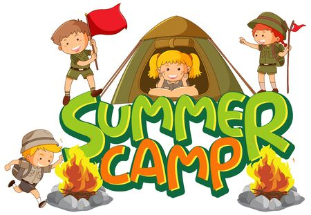 Font design for word summer camp with many kids in the tent illustration