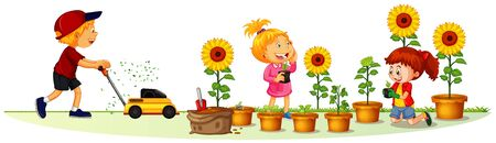 Scene with many children in the garden illustration Vector Illustratie