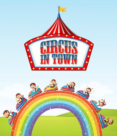 Font design for word circus in town with monkeys on the ride over the rainbow illustration