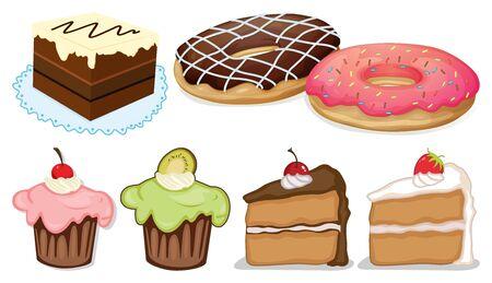 Big set of different menu for desserts on white background illustration