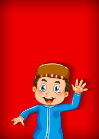 Background template design with muslim boy waving hand illustration  イラスト・ベクター素材