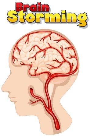Poster design for brain storming with human brain illustration 向量圖像