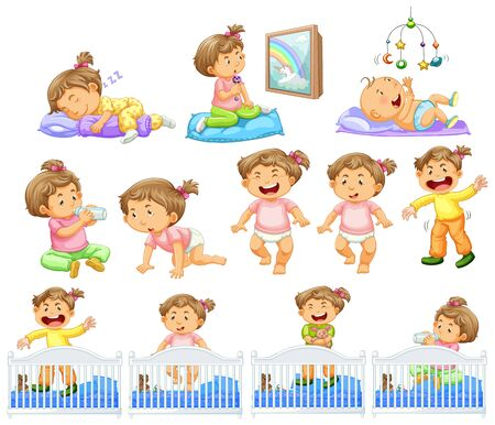 Set of baby girl doing different activities illustration