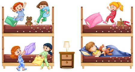 Scene with many girls playing and sleeping in bed illustration  イラスト・ベクター素材