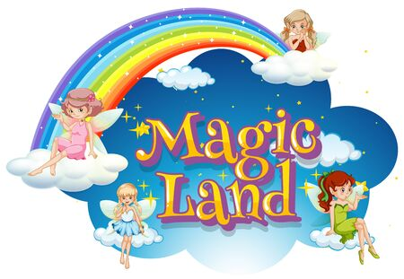 Font design for word magic land with fairies flying in the sky illustration Иллюстрация