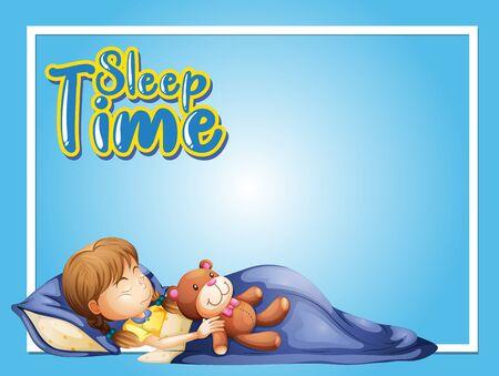 Frame design template with little girl sleeping illustration