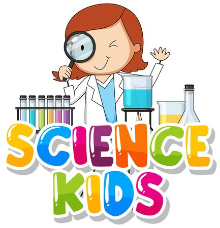 Font design for word science kids with kid in the lab illustration