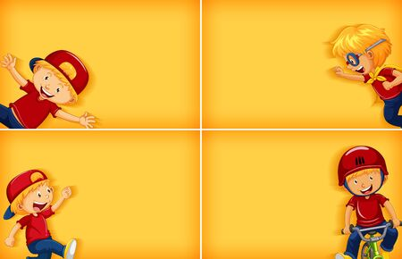 Four background template designs with happy boy doing different activities illustration