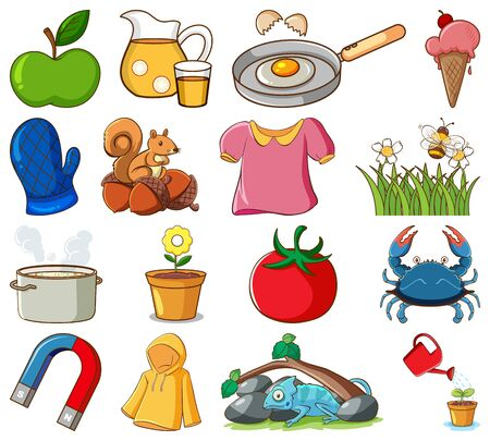 Large set of different food and other items on white background illustration 일러스트