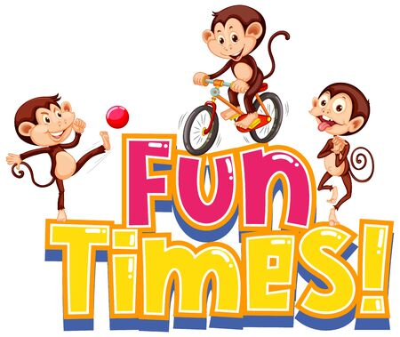 Sticker design for word fun times with cute monkeys illustration
