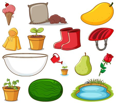 Set of gardening items and other things on white background illustration Illustration