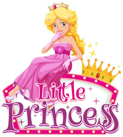 Font design for word little princess with cute princees in pink illustration Illustration