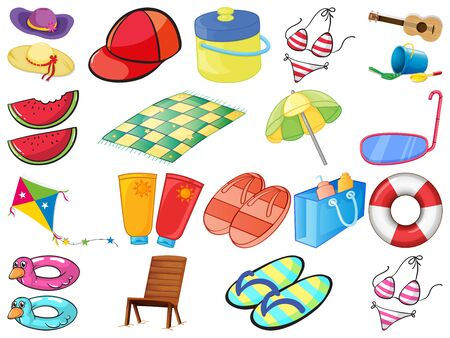Large set of different summber items on white background illustration