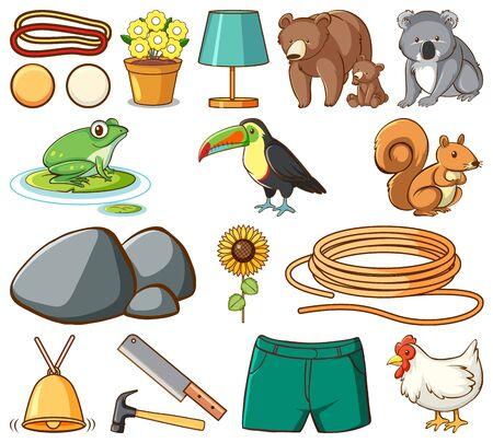 Set of many animals and construction tools on white background illustration