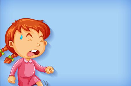 Background template design with crying girl illustration