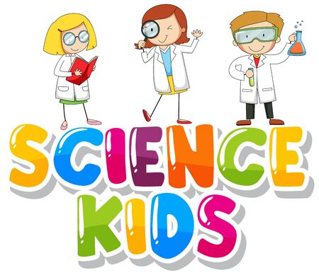 Font design for word science kids with kids in lab gown illustration  イラスト・ベクター素材