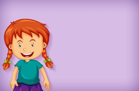 Plain background with happy girl in green shirt illustration