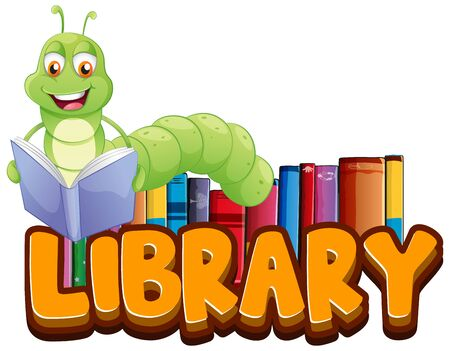 Font design for word library with bookworm reading illustration