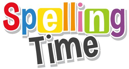 Font design for word spelling time in different colors illustration