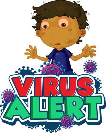 Font design for word virus alert with boy and virus cells illustration  イラスト・ベクター素材
