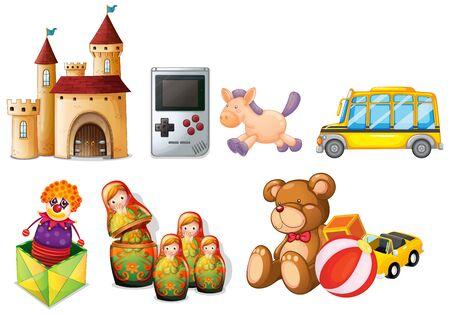 Large set of children toys on white background illustration