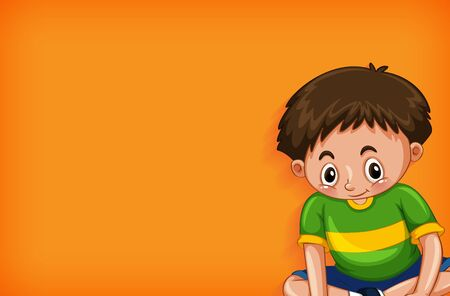 Background template design with happy boy sitting illustration