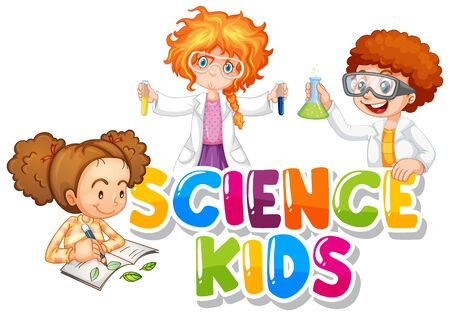 Font design for word science kids with three students working illustration